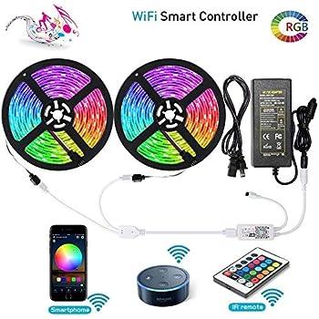 Amazon com: LED Strip Lights Works with Alexa Maxonar Wifi