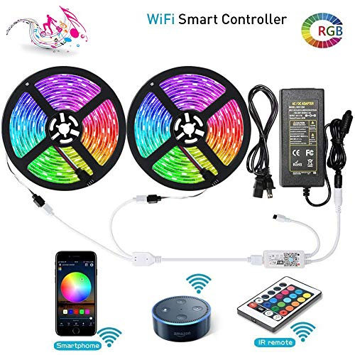 LUNSY RGB LED Light Strips with Remote, Dimmable LED Strip Lights, 300LED 5050, 32.8 ft/10m IP65 Waterproof Wifi Rope Lights Outdoor, 12V , Wireless Smart Phone, Alexa Controlled