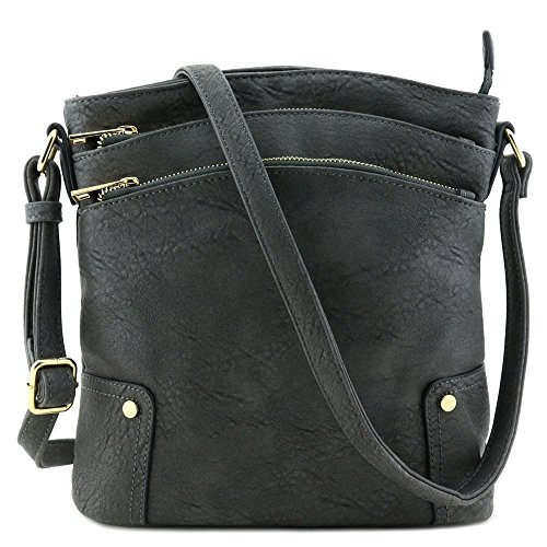 Triple Zip Pocket Large Crossbody Bag Dark Gray