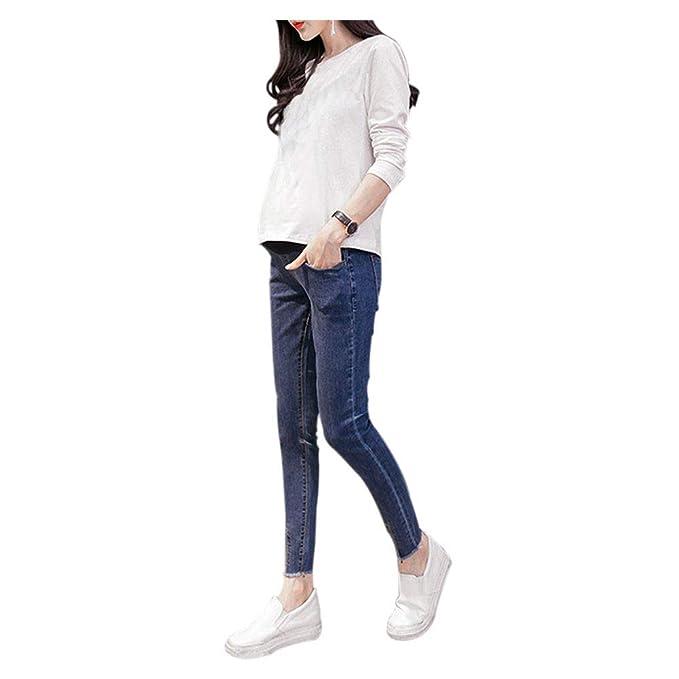 Goyajun Pantalones de Jean de Maternidad - Pantalones de Mujer Embarazada Sobre Leggins de Bache Cinturón