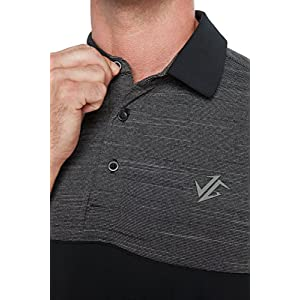 Jolt Gear Dri-Fit Mens Moisture Wicking Two-Tone Polo Cleaning Shirt - closeup of collar and buttons