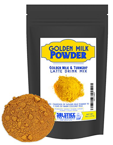 Golden Milk Powder Turmeric Tea Drink Mix (8-Ounce), Pre-Mixed Turmeric Golden Milk Mix, Turmeric, Ginger, and Black Pepper (70+ Servings)
