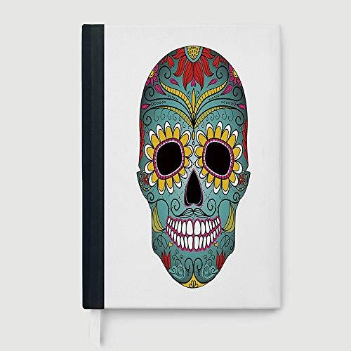 Sugar Skull Decor,Notepad Student Award Gift Decorative Notebooks,Folk Art Elements Featured Skull Day of the Dead Celebration Concept Decorative,96 Ruled Sheets,A5/8.24x5.73 (Folk Art Gift)