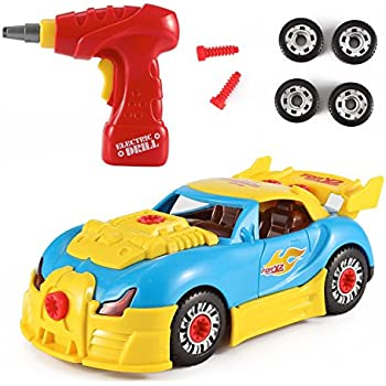PowerTRC World Racing Car Take-A-Part Toy for Kids with 30 Take Apart Pieces, Tool Drill, Lights and Sounds