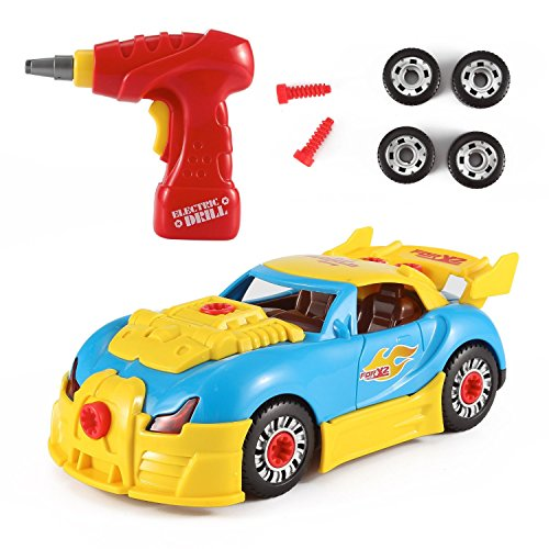 PowerTRC World Racing Car Take-A-Part Toy for Kids with 30 Take Apart Pieces, Tool Drill, Lights and Sounds (Car Toys For Kids)