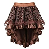 Zhitunemi Plus Size Steampunk Costume for Women Pirate Dressing Renaissance Skirt High Low Outfits Saloon Girl Costumes Coffee S/M