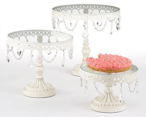 Jewelled Wedding and Birthday Glass Cupcake Stand Pedestal Platter - Set of 3 ()