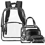 NiceEbag 6 in 1 Clear Backpack with Cosmetic Bag Set Makeup Pouch Organizer,Clear Transparent PVC School Bookbag See Through Travel Casual Rucksack with Make up Case Luggage Toiletry Bags(Black)