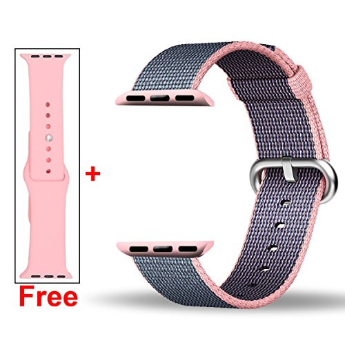 Free Silicone Band,Inteny Apple Watch Band Series 1 Series 2 Colorful Pattern Woven Nylon Band Replacement Wrist Bracelet Strap Buckle for iWatch,42mm,Light Pink&Midnight Blue