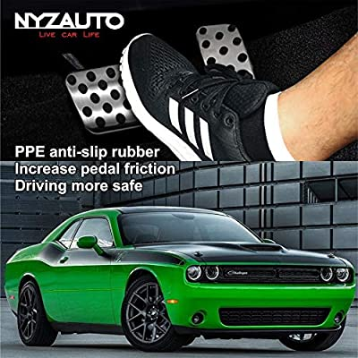 NYZAUTO Anti-Slip Performance Foot Pedal Pads Compatible with Dodge Challenger Chrysler 300 2009-2020 , Auto No Drilling Aluminum Brake and Gas Accelerator Pedal Covers: Automotive