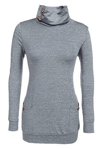 Moxeay Womens Long Sleeve Hoodies Cowl Neck Tunic Tops Sweatshirts (Medium, Dark Grey) -