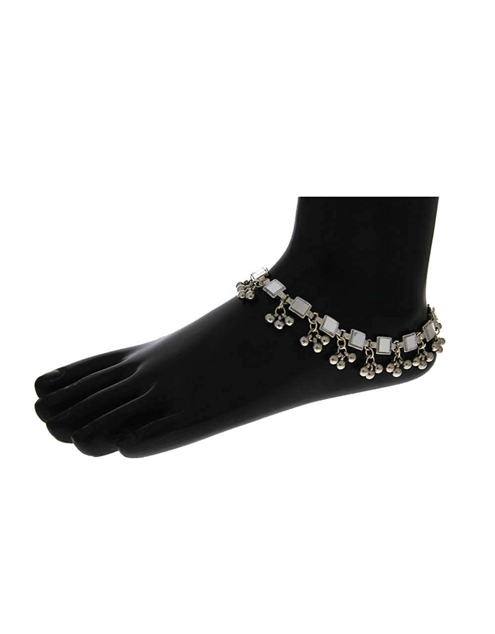 Anuradha Art Silver Finish Studded Glass Stone Wonderful Anklet//Payal for Women//Girls