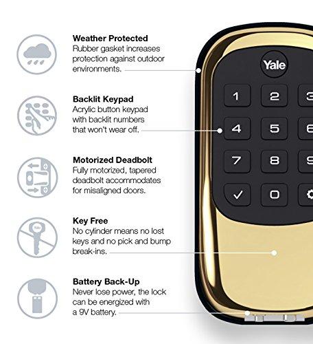 Yale Security Yrd110nr605 Keypad Deadbolt Polished Brass