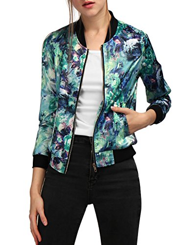 Allegra K Women Long Sleeve Stand Collar Zip Up Floral Bomber Jacket Green XL 51IuHyD5jML