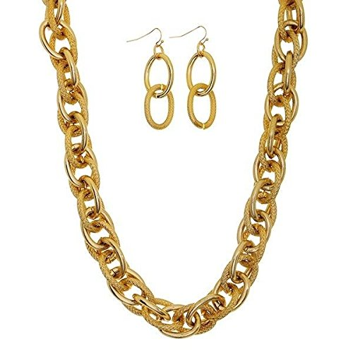 18 Long Chunky Gold Tone Textured Link Necklace 2 1/4 Earrings Jewelry Set id-3044