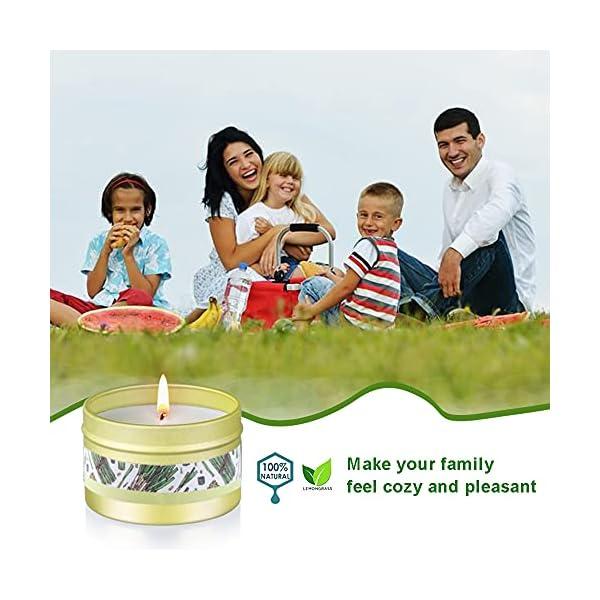 51IuIFNICMS Citronella Kerze Outdoor mit Sojawachs Duftkerzen 6 Stück Zitronella Kerzen Set für Zimmer Garten Terrasse Balkon…