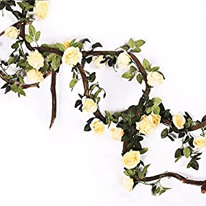 Mi Guoer 3 vines in one pacakge 10 big roses in one vine artificial flower vines, rose plastic vines for wedding centrepieces countyard decor (light yellow) 46
