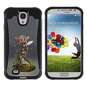 Suave TPU Caso Carcasa de Caucho Funda para Samsung Galaxy S4 I9500 / Fairy Forest Wings Magic Nature Green Eco / STRONG