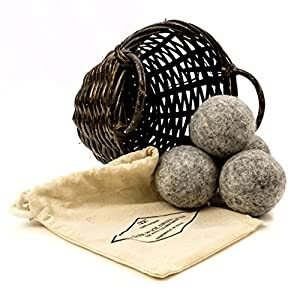 Organic Dark Wool Dryer Balls, 4-Pack — Made For Drying Colors/Darks — Natural Ecofriendly Fabric Softener — Reusable Dryer Sheets for Infants