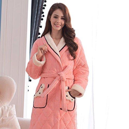 Cute Sleep Inverno S Colore dimensioni Rosa Ispessimento Robe Accappatoi Abbigliamento tratto Lady Lungo ZLR Rosa caldo Home Bz5Twwqnf