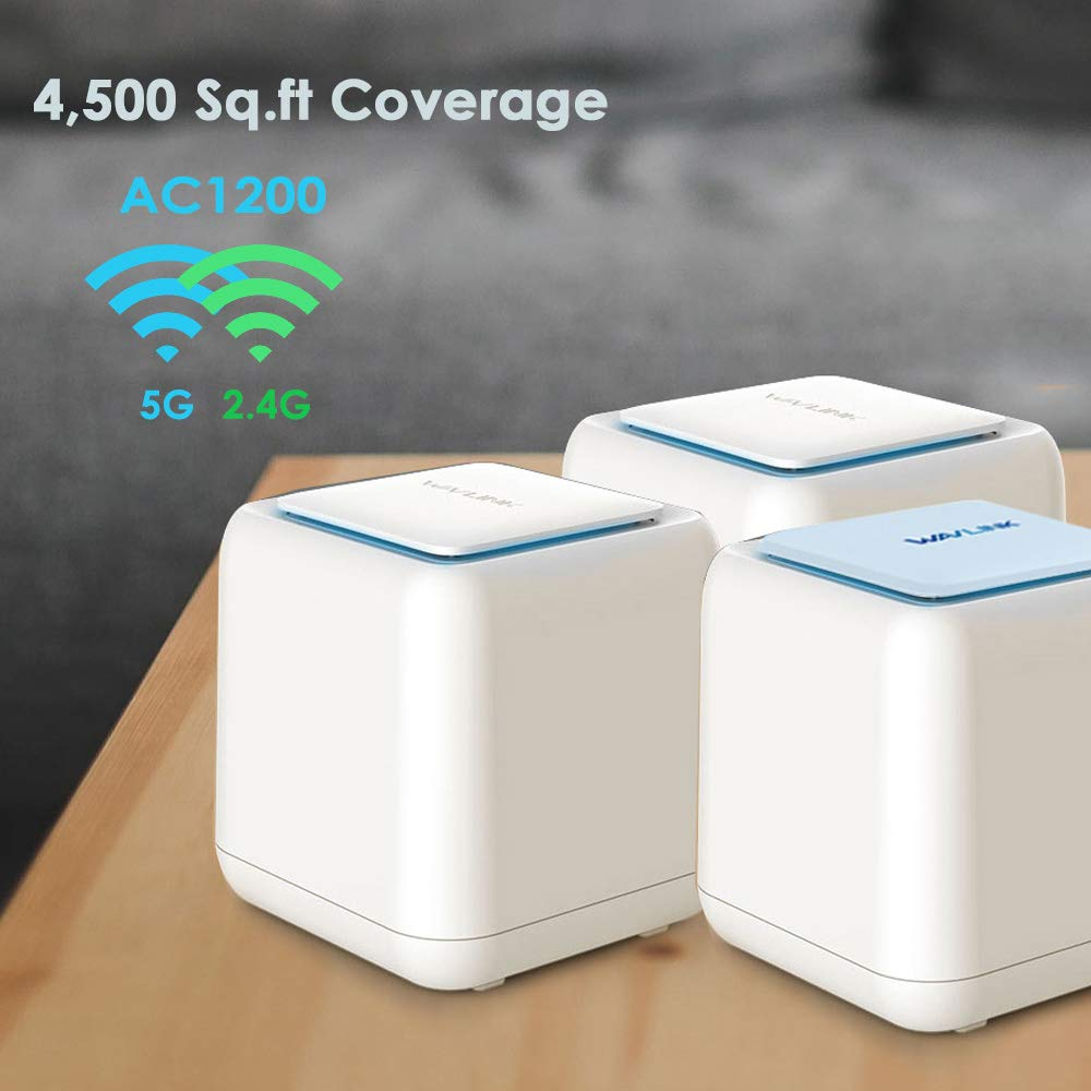 WAVLINK Halo Base 3 Smart Wireless Whole Home Mesh WiFi System, 1 WiFi Router + 2 Satellite Points Repeater Wi-Fi Extender, AC1200 Dual Band 2.4 + 5Ghz Insanely Fast & Super Coverage 4500.sq.ft