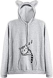 RGOSME Women Teen Girls Cat Hoodie Sweatshirt Cute Cat Ear Sleeping Cat Printed Pullover Sweatshirt