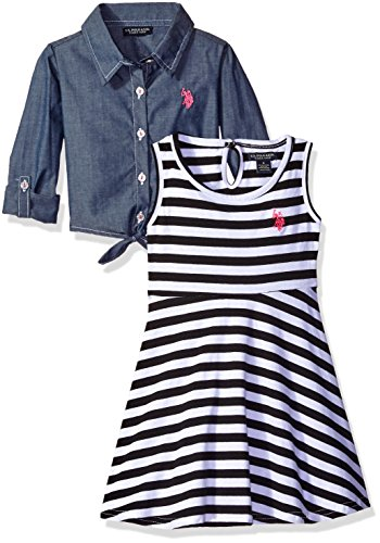 - U.S. Polo Assn. Girls' Little' Striped Knit Skater Dress with Chambray Shirt-Jack, Black, 5