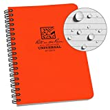 """Rite in the Rain All-Weather Side-Spiral Notebook, 4 5/8"""" x 7"""", Orange Cover, Universal Pattern (No.) (OR73)"""