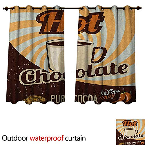 (Anshesix Retro Outdoor Ultraviolet Protective Curtains Old Hot Chocolate Commercial in Funky Shaded Color with Cocoa Beans and Mug Print W55 x L72(140cm x 183cm))