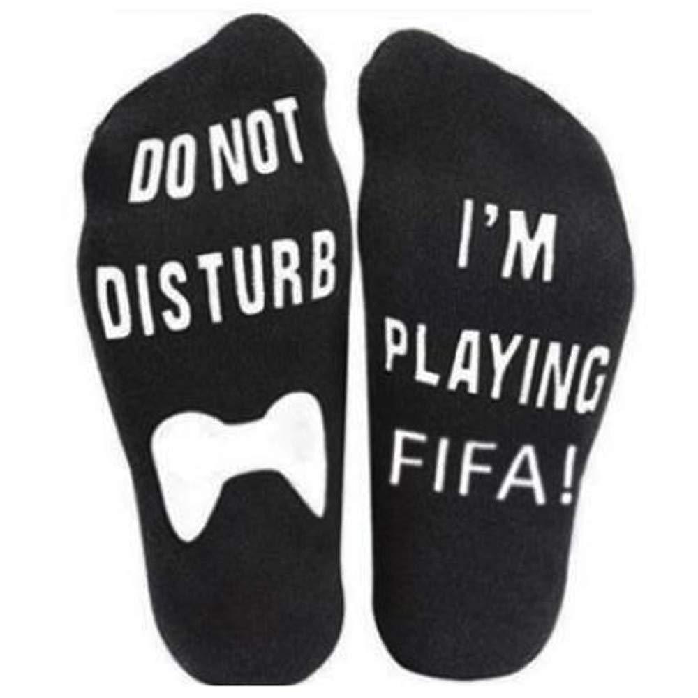 vermers Novelty Socks Unisex 'Do Not Disturb' Great Gamer Gift Letter Print Funny Ankle Socks(Black3)
