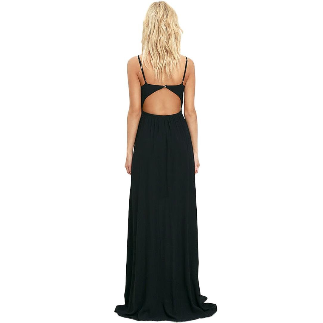 Usstore Women Camisole Long Dress Cotton Sleeveless Dresses (XL, Black) by Usstore (Image #4)