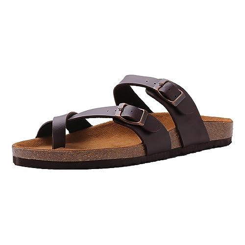 69385fd286 VVFamily Womens Slide Sandal Buckle Slip On Slippers Comfort Cork Footbed
