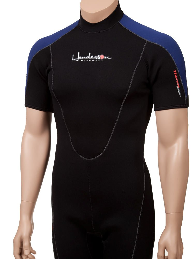 Henderson Man 3 mm Thermoprene Shorty ( Back Zip ) Scuba Divingウェットスーツ B01H9M48JA ブラック/ブルー Men's 4XL-Short Men's 4XL-Short|ブラック/ブルー