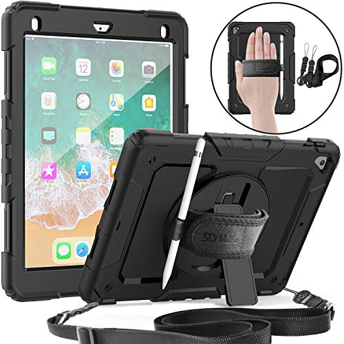 (iPad 5th/6th Generation 9.7 Case, SEYMAC Full Body Protection Case with Built-in Screen Protector, Pencil Holder, Rotatable Stand & Hand Strap, Shoulder Strap for iPad 5th/ 6th Generation 9.7 (Black))