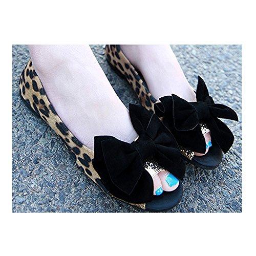 OCHENTA Bailarinas Mujer Leopardo Cabeza de pescado Moda Simple Casual Leopardo