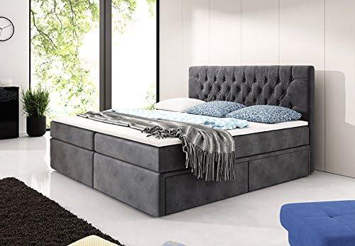 Cama con somier de Chester de cama 180 x 200 – Gris Cama con ...