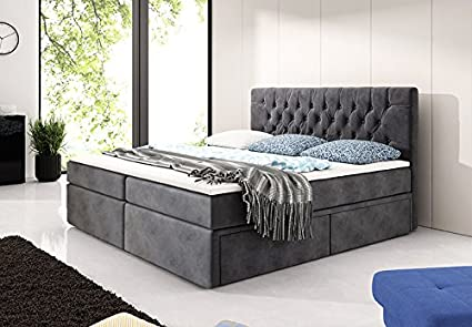 Cama con somier de Chester de cama 180 x 200 – Gris Cama ...