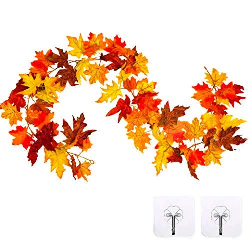 Whaline Artificial Autumn Fall Maple Leaves Thanksgiving Garland Hanging Plant for Home Garden Wall Doorway Backdrop Fireplace Decoration, Wedding Party Decor (Deep)