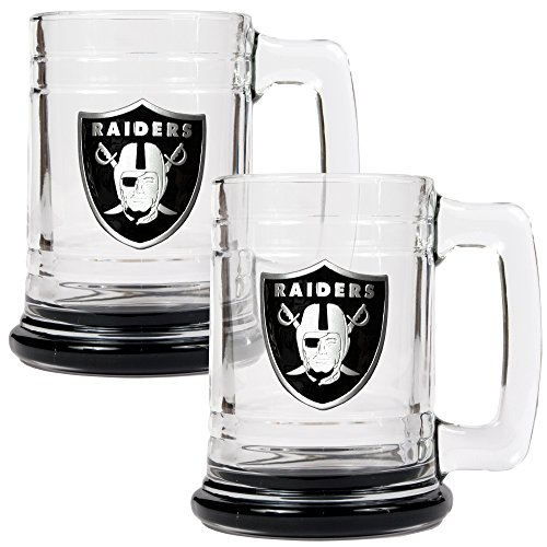 (NFL Oakland Raiders Accented Glass Tankard Set (2-Piece), 15-Ounce, Clear )