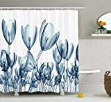 Ambesonne Xray Flower Decor Shower Curtain Set, Bunch Of Different Size Flowers With X-Rays Complex Structures Of Mother Nature Art, Bathroom Accessories, 75 Inches Long, Teal White