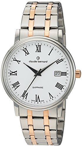 Claude Bernard Swiss Quartz and Stainless Steel Dress Watch, Color:Two Tone (Model: 53007 357RM BR)