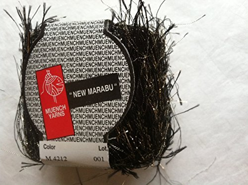 (Muench New Maribu Black with Gold Metallic Long Eyelash Yarn 20 Grams )