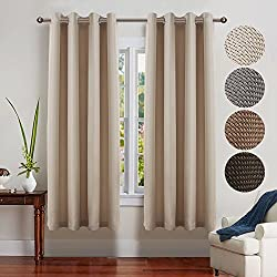 FAIRY HOUSE Nursery Essential Thermal Insulated Solid Grommet Top Blackout Curtains/Drapes (1 Pair,52 x 72 Inch in Kid's Room Beige)