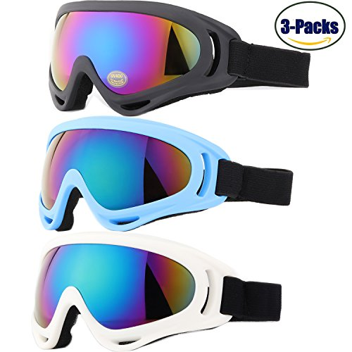 Yidomto Ski Goggles, Pack of 3 Snowboard Goggles for Kids, Boys, Girls, Youth, Mens, Womens, with UV Protection, Windproof, Anti Glare