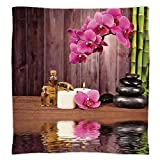 iPrint Super Soft Throw Blanket Custom Design Cozy Fleece Blanket,Spa Decor,Spa Flower Water Reflection Aromatherapy Bamboo Blossom Candlelight,Perfect for Couch Sofa or Bed