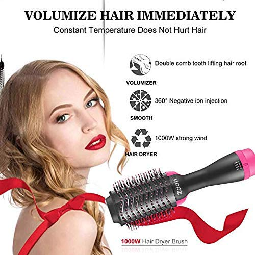 ZDATT Hot Air Hair Brush & Volumizer, 3-in-1 Salon Styling Hair Dryer and Styler, Negative Ion Straightening Brush Curl Brush, Multi-functional for Straight & Curly Hair. UL Swivel Wire b by ZDATT (Image #4)