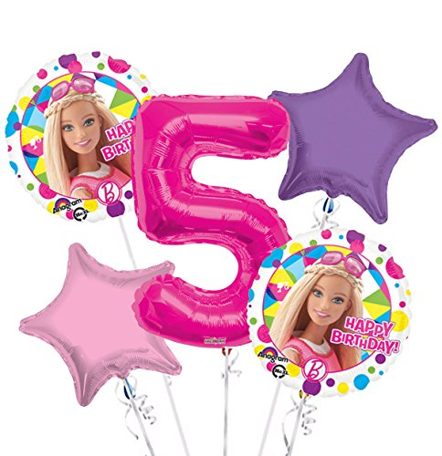 Barbie Balloon Bouquet 5th Birthday 5 pcs - Party ()
