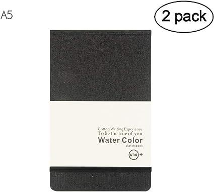 perfetto per supporti umidi e misti quaderno con rilegatura rigida confezione da 2 36 fogli per blocco quaderno per pittura ad acqua Blocco di carta per acquerelli formato A5