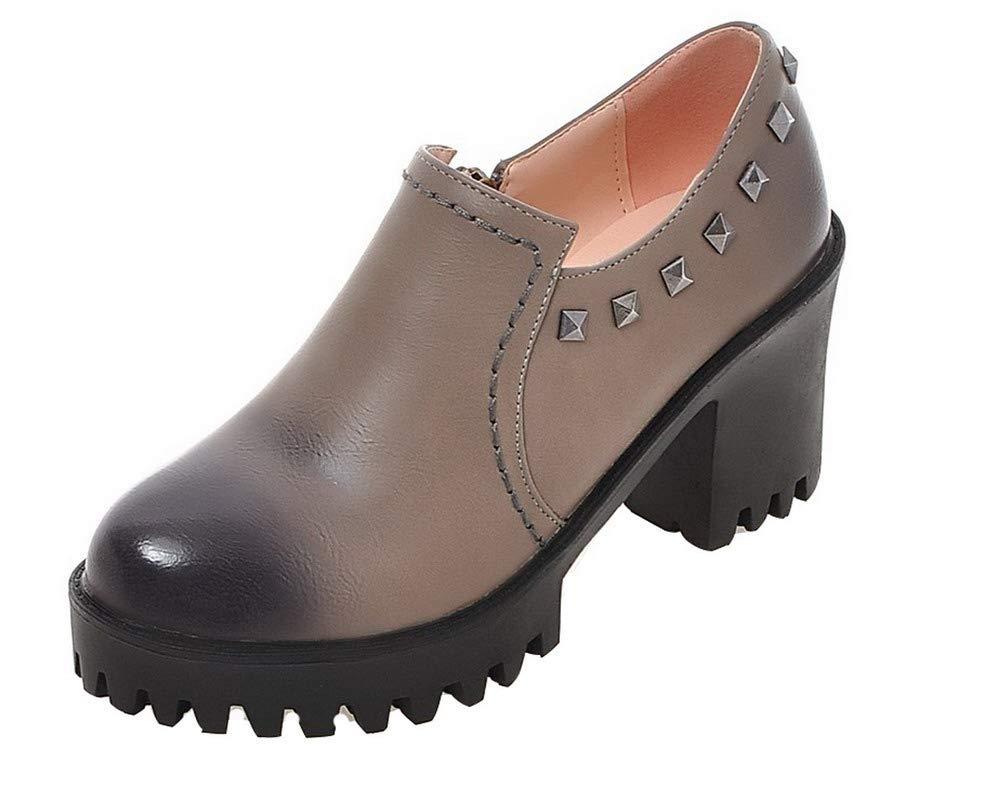 AalarDom Femme à Talon Haut PU Cuir B005MIFFMI Femme Couleur PU Unie Zip Rond Chaussures Légeres, TSFDH005719 Gris 2b5b70b - piero.space