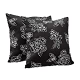 "AmazonBasics 2-Pack Textured Weave Decorative Throw Pillows - 18"" Square, Black Floral"